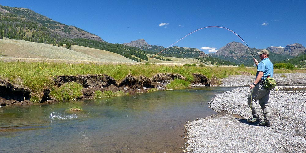 Angler hooked up on Soda Butte Creek